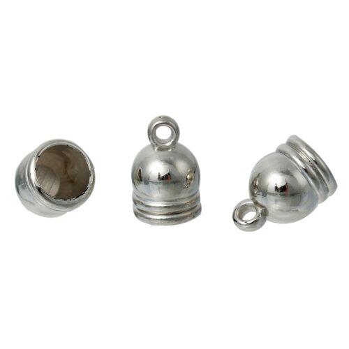 Embouts pour cordon 7.5mm max 15mm x10mm CCB Plastique argenté 10 ou 20 pcs