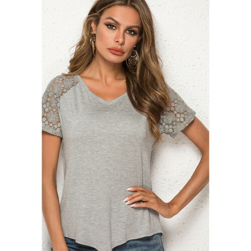Women V-Neck Short Sleeve Lace Stitching Casual Loose Summer T-Shirts Tops Z