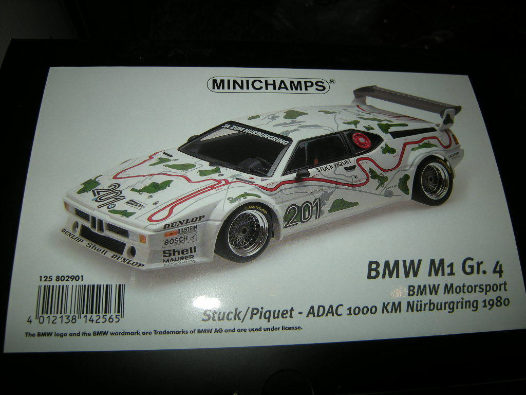 1:12 Minichamps BMW m1 tg. 4 ADAC 1000 km NURBURGRING 1980 n. 125802901 OVP