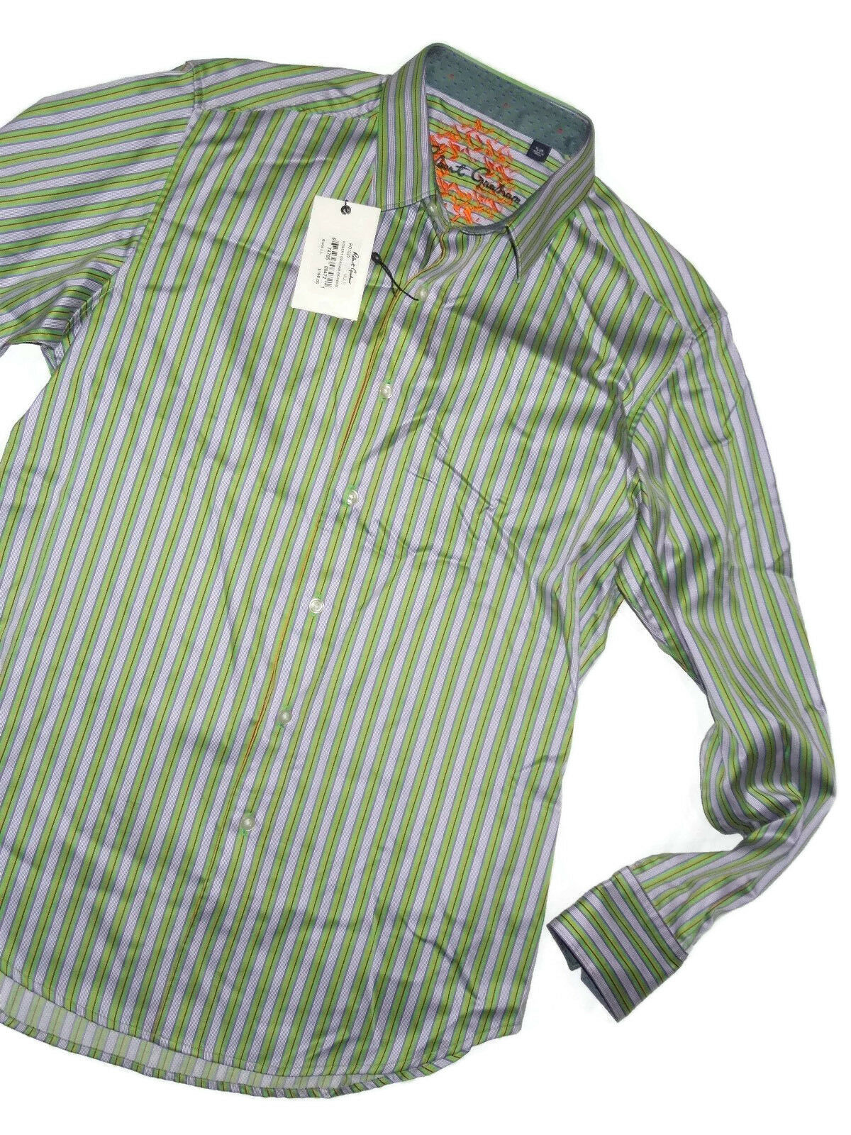 Robert Graham men's long sleeve green & purplec stripe dress shirt SMALL rt