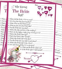10 x who knows the bride best hen party bridal shower game