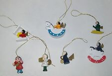Vintage Miniature Wooden Wood Angel Christmas Tree Ornament 7 Mini Ornaments