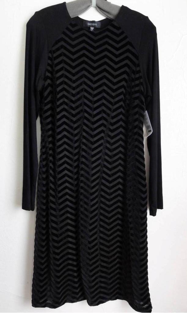 KAREN KANE CHEVRON LONG SLEEVE BURNOUT DRESS, schwarz, Größe L, XL, MSRP