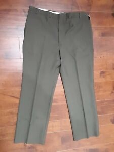 TOWNCRAFT-Dress-Pants-Straight-Front-Olive-Green-Wool-Blend-Men-40x30