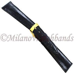 18mm-Milano-Black-Genuine-Teju-Lizard-Stitched-Tapered-Mens-Watch-Band-SHORT-856