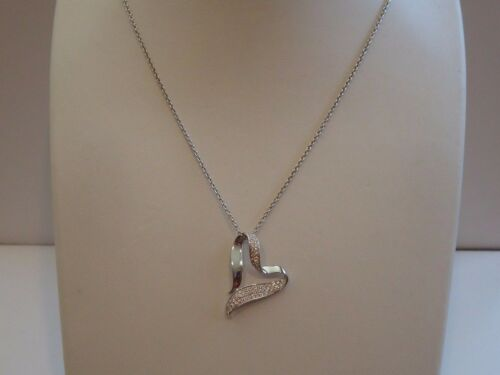 925 STERLING SILVER TWISTED HEART NECKLACE PENDANT W// 1ct LAB DIAMONDS//18/'/'
