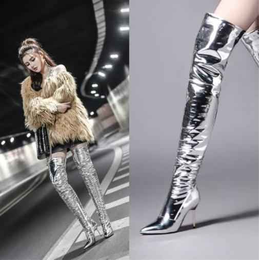 Sexy Mujeres Sobre La Rodilla botas Altas Del Muslo Lujo Zapatos Stiletto metal brillante con cremallera lateral