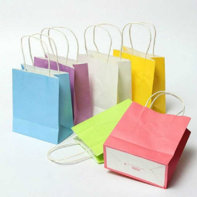 Recyclable Kraft Paper Bag Party Birthday Favour Gift Pouch Carrier with Handles