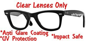 4edcdaf3ab2 Image is loading Prescription-CLEAR-RB2140-Wayfarer-Replacement-Lens -Anti-Glare-