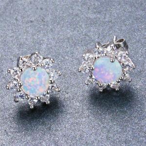 Exquisite-925-Silver-White-Fire-Opal-CZ-Ear-Stud-Earrings-Womens-Wedding-Jewelry