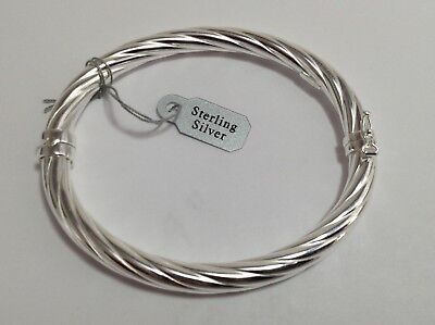 Slave bangle Solid Silver Ladies Patterned Hinged Twist Sterling Silver
