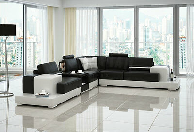★ Modern Large LEATHER SOFA Corner Suite NEW RRP £5999 Black REF87231