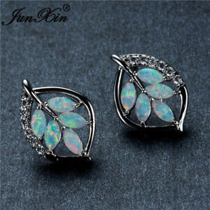 Women-925-Silver-Opal-Leaf-Jewelry-Ear-Stud-Dangle-Drop-Earrings-Party-Gift