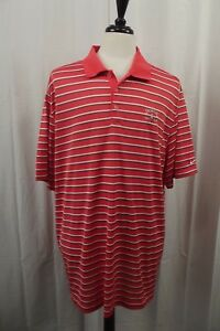 Nike-Golf-Mens-Polo-Shirt-Size-XXL-2XL-Striped-Short-Sleeve-S-S-Coral-Dri-Fit