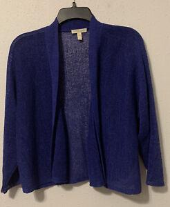 Eileen-Fisher-Blue-Open-Front-Knit-Cardigan-Sweater-Shrug-Linen-Blend-SZ-PL