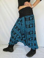 Sarouel Femme Ethnique - Vetements Hippie Baba Cool - Roopa OM Noir Turquoise