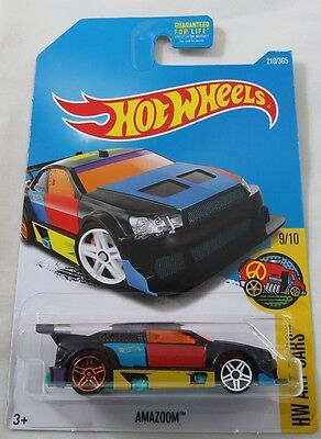 Hot Wheels 2017 #218//365 Amazoom Negro Hw Arte Cars
