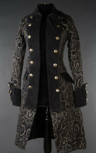 en manteau gothique noir Veste de brocart steampunk pirate princesse d'officier victorien UPxxw75q