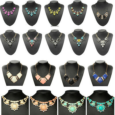 Charm Crystal Jewelry Chunky Statement Bib Pendant Choker Chain Necklace 15Style