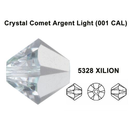Todas las Tallas Cometa de Cristal Luz argenta Plata Original Swarovski 5328 Cuentas Bicónicas