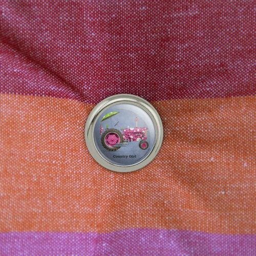 Farm Tractor Country Girl Pink Farming Metal Craft Sewing Buttons Set of 4