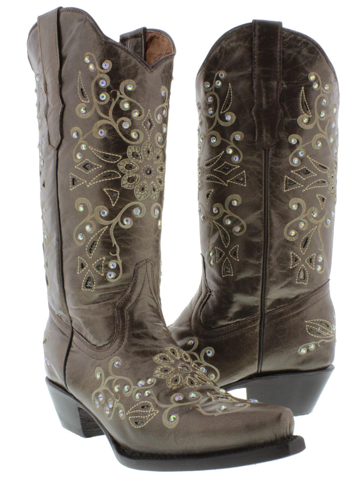 negozio fa acquisti e vendite donna Marrone Rhinestone Snake Cowgirl stivali Python Inlay Leather Leather Leather Pointed Toe  offerta speciale