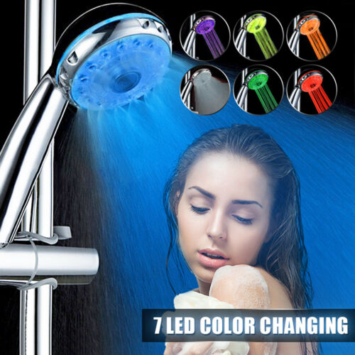 3 Mode Water Handheld Shower Head Automatic Changing 7 Colour LED