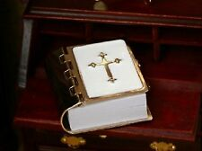 Dolls House Miniature 1/12th Scale White and Gold Coloured Bible