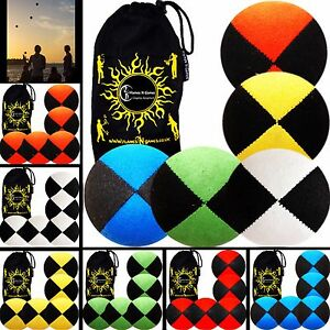 5x Pro Thud Juggling Balls - Deluxe (SUEDE) Professional Ball Set of 5 + Bag