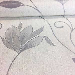 Glitter flower wallpaper sparkly embossed dove grey silver white image is loading glitter flower wallpaper sparkly embossed dove grey silver mightylinksfo