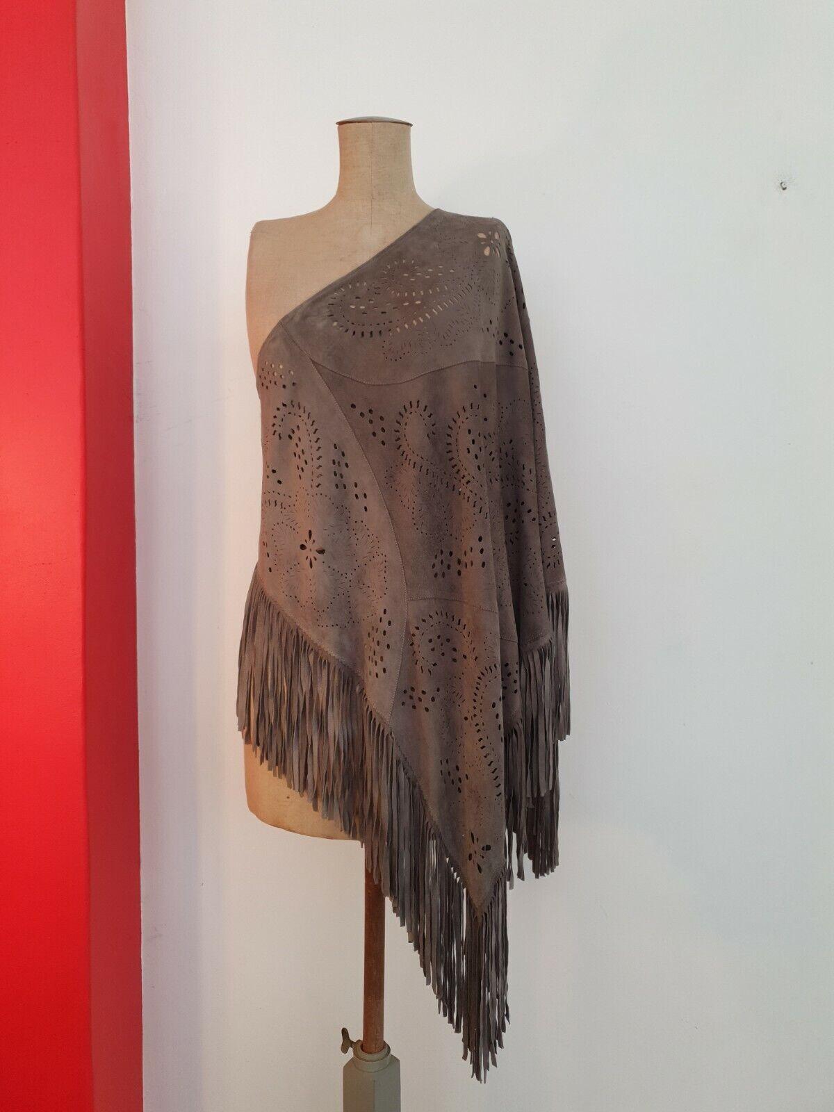 Suede Leather Poncho Cape Pullover Boho Hippie Gypsy RARITY OSFA