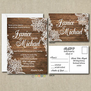 Details About 100 Personalized Country Rustic Lace Wedding Invitations Post Card Rsvp