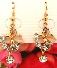 Girls/Ladies Crystal Butterfly Rhinestone Earrings new