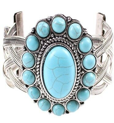 vintage retro Unisex new Tibet silver blue synthetic flower bead cuff bracelet