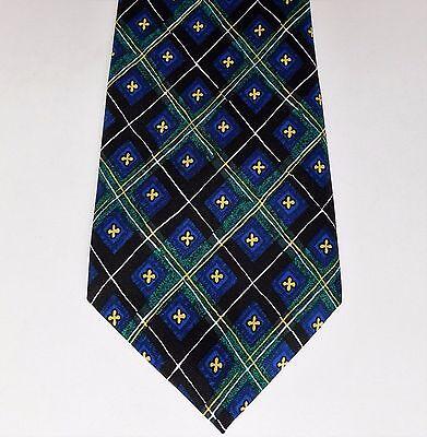 Bright check tie by Burton Mens Wear Green blue yellow