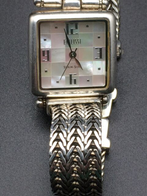 Ecclissi Sterling Silver White Mother of Pearl Checkerboard Dial Watch #33435
