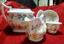 Museum Qual. Antique Pearlware English Porcelain Teapot/Part Set Chinoiserie