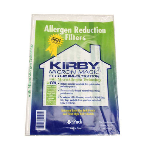 6 pack Genuine Kirby Bag 204811 HEPA White Cloth Allergen Reduction Filter Bags
