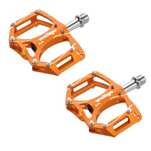 "Orange Wellgo M194 Mountain MTB Bike Bicycle Cycling  9//16/"" Aluminum Pedals"