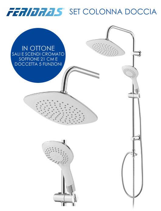 Colonna doccia design bagno con deviatore soffione doccetta saliscendi bianco