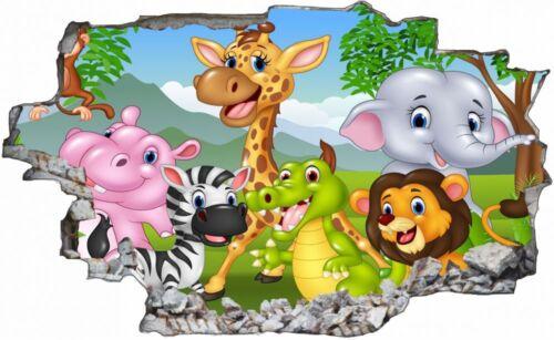 Cartoon Tiere Kinder Wandtattoo Wandsticker Wandaufkleber C1297