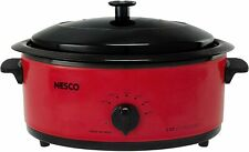 Nesco 4816-12 6-Quart Roaster Oven with Black Lid, Red