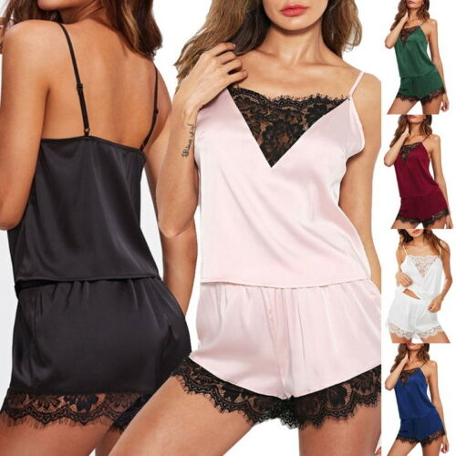H//J Damen Spitze Pajama Nachtwäsche Reizwäsche Babydoll Shorts Lingerie Sets