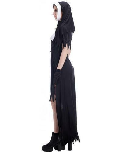 Adult Dreadful Women Horror Nun Halloween Cross Costume Cosplay Dress Suit US