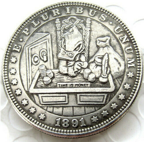 Hobo Nickel 1891  Morgan Dollar  Scrooge McDuck Time is Money Casted Coin