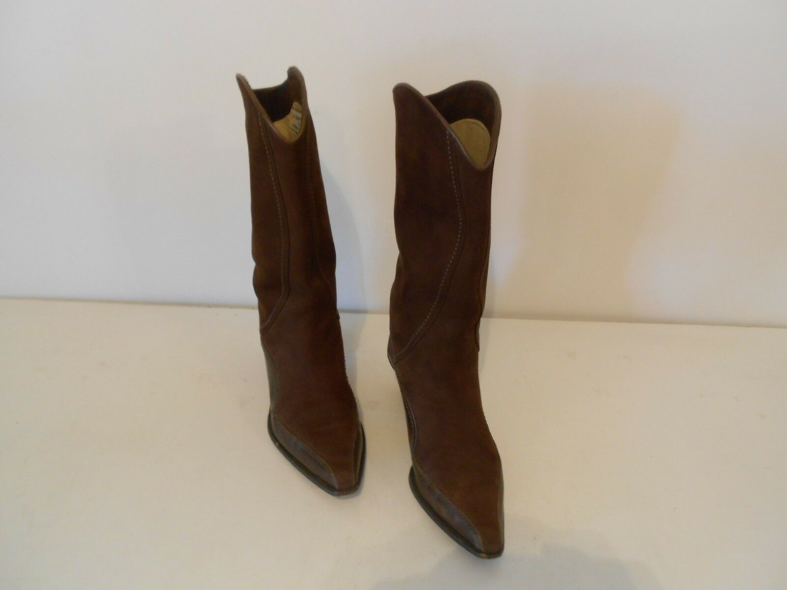 Women's Women's Women's Italian Via Spiga for Neiman Marcus Western Style Boots Brown Suede Sz 7 e358b4