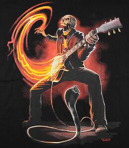 Music Stuff Shake Rattle T Shirt Black Skull Electric Guitar Fire Cobra Baba Ebay