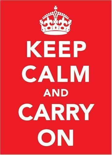 NEW KEEP CALM AND CARRY ON WARTIME A3 POSTER WORLD WAR 2 CROWN WHITE ON RED WWII