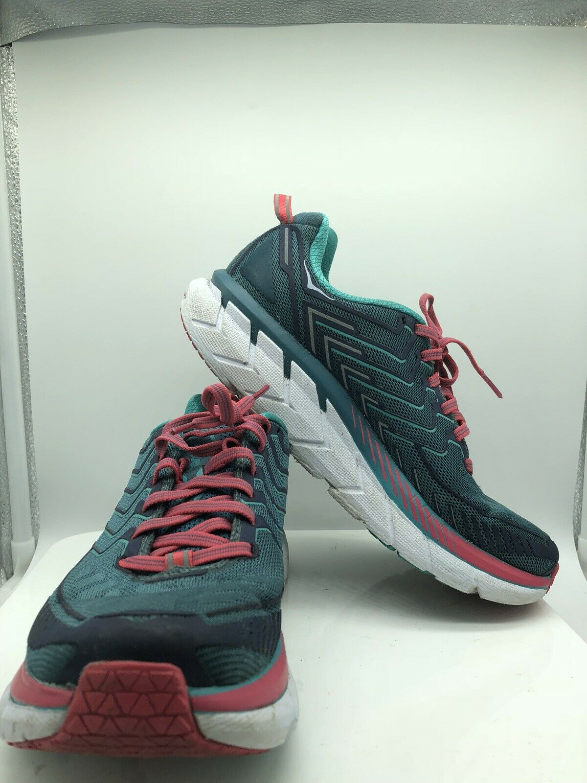 HOKA ONE ONE CLIFTON 4 Aqua Women's Running Sneakers shoes Size 7 Lace Up