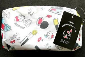 SANRIO-Hello-Kitty-Square-Rectangle-Zipper-Bag-Pouch-White-gift-present-Cosmetic